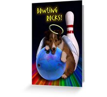Bowling Rocks Angel Sheltie Puppy Greeting Card