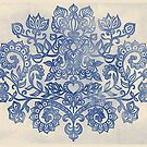 Indigo Blue Denim Ink Doodle by micklyn