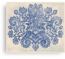 Indigo Blue Denim Ink Doodle Canvas Print