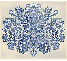 Indigo Blue Denim Ink Doodle Photographic Print