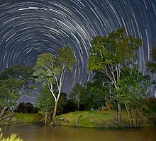 Star Trails over the Condamine River, Ellangowan Qld.  by GrantRolphPhoto