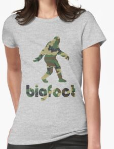 Bigfoot Woodland Camo Womens Fitted T-Shirt