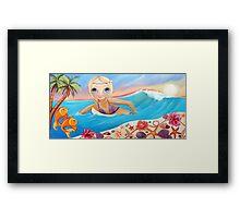 Sunset Surfer Framed Print