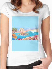 Sunset Surfer Women's Fitted Scoop T-Shirt