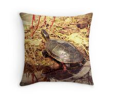 Painted Turtle Reflected in Water Throw Pillow