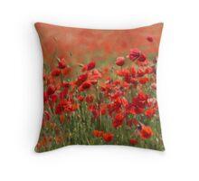painterly poppies Throw Pillow
