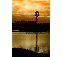 Sun Rise over farm water. Photographic Print