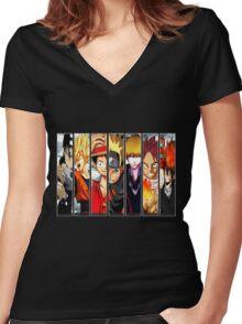 Manga Heroes Women's Fitted V-Neck T-Shirt