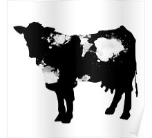 Cow black and white brush paint splash Poster