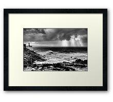 Rough seas at Porthcawl Point Framed Print