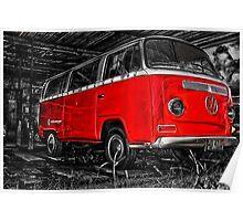Volkswagen camper side - Red Poster