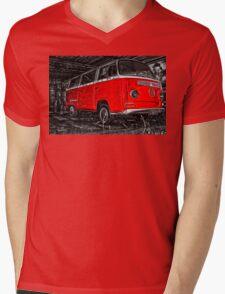 Volkswagen camper side - Red Mens V-Neck T-Shirt