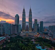 Twin Towers at Sunset by Nur Ismail Mohammed