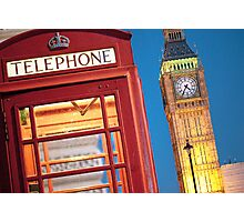 Big Ben and Red Phone Booth - London Photograph Photographic Print