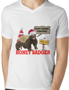 Honey Badger Merry Freakin' Christmas Mens V-Neck T-Shirt