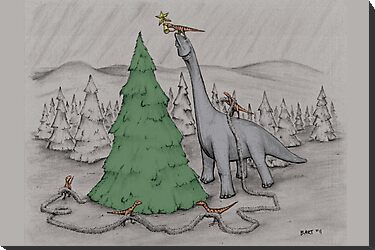 Dinosaurs Trimming the Tree - Colored by Bart Castle
