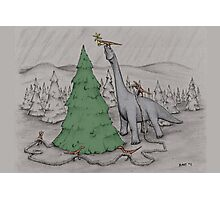 Dinosaurs Trimming the Tree - Colored Photographic Print