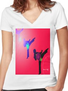 Just kicked in 2 Women's Fitted V-Neck T-Shirt