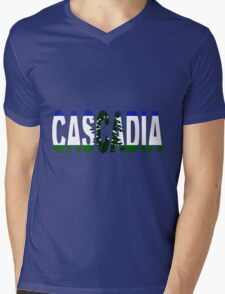 Cascadia, Flag in Letters Mens V-Neck T-Shirt