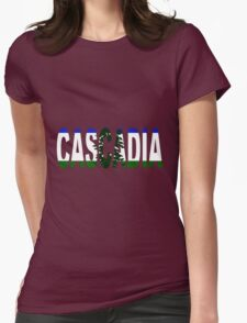 Cascadia, Flag in Letters Womens Fitted T-Shirt
