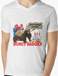 Honey Badger Happy Freakin' Birthday Mens V-Neck T-Shirt