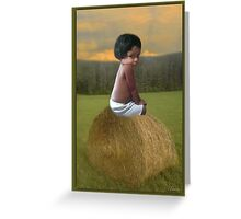 ✿♥‿♥✿COUNTRY SWEETNESS ON A BALE OF HAY✿♥‿♥✿ Greeting Card