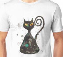 Black cunning cat with orange eyes Unisex T-Shirt