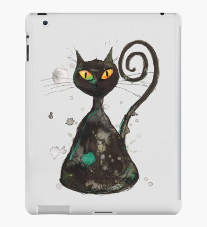 Black cunning cat with orange eyes iPad Case/Skin