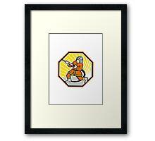 Japanese Fireman Firefighter Cartoon Framed Print