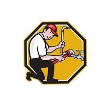 Plumber Repair Faucet Tap Cartoon by patrimonio
