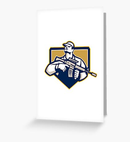 Soldier Military Serviceman Assault Rifle Retro Greeting Card