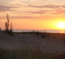 Sunset along Lake Michigan at Silver Beach - 1 by Debbie Mueller