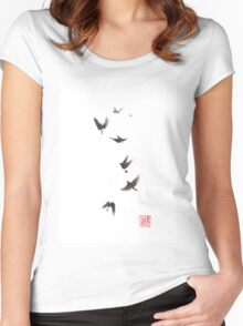 Black pennant sumi-e painting Women's Fitted Scoop T-Shirt