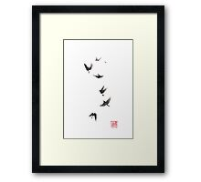 Black pennant sumi-e painting Framed Print