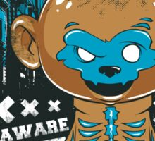 Be Aware Bad Monkey Brown And Blue Sticker