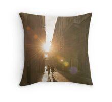 Famous fashion shopping street Throw Pillow