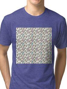 Drawn bird feathers seamless pattern Tri-blend T-Shirt