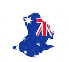Australia continent / flag painting by stereoscopic