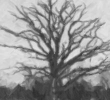 Winter tree - drawing by stereoscopic