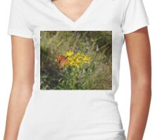 Comma Butterfly Women's Fitted V-Neck T-Shirt