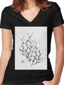 Gentle promise sumi-e painting Women's Fitted V-Neck T-Shirt
