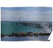 Heavy sea around the jetty Poster
