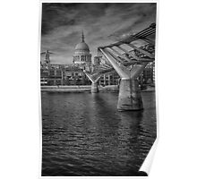 St Paul's Cathedral and the Millennium Bridge Poster