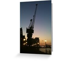 Victoria Dock Crane at Night Greeting Card