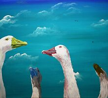 Pop Geese, Blue by C.A. Rowe