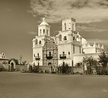 Mission San Xavier del Bac in sepia by Gordon Beck