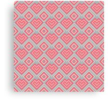 Pixel art abstract pink hearts Canvas Print