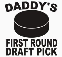 Daddy's First Round Draft Pick Hockey One Piece - Short Sleeve