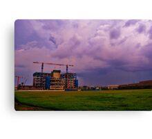 Construction Site under a cloudy, purple sky Canvas Print
