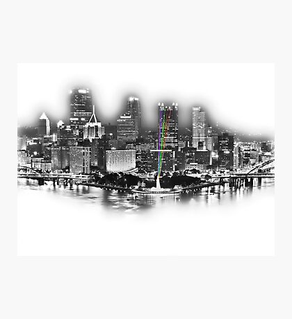 Pittsburgh, PA Silvery Sketch Photographic Print